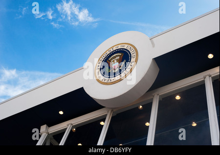 United States Presidential inauguration viewing stand with Presidential Seal, in Washington DC. - Stock Photo
