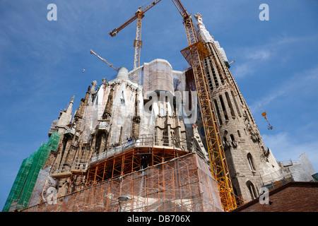 scaffolding and cranes above Sagrada Familia Barcelona Catalonia Spain - Stock Photo