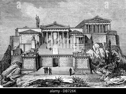 geography / travel, Greece, Athens, acropolis, exterior view, reconstruction, wood engraving, 2nd half 19th century, - Stock Photo