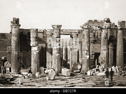 geography / travel, Greece, Athens, acropolis, Propylaea, eastern side, drawing, late 19th century, column, columns, - Stock Photo