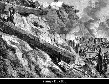 War of the Forth Coalition 1806 - 1807, siege of Danzig, 19.3 - 24.5.1807, French engineers in action, wood engraving, - Stock Photo