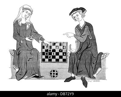 game, chess, woman and man playing game of chess, after a miniature, 13th century, photoengraving, by A. Durand, - Stock Photo