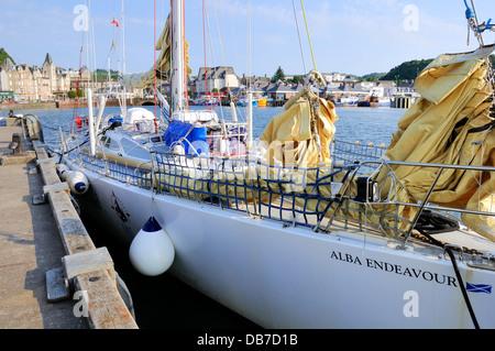 The Alba Endeavour sailing yacht in Oban harbour, Argyll, Scotland. - Stock Photo