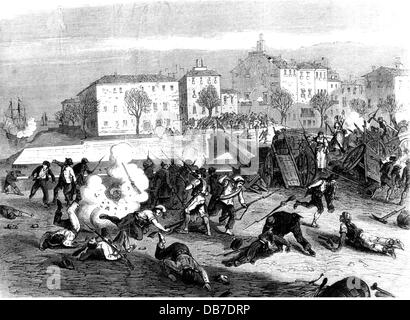 Glorious Revolution in Spain 1868, uprising in Malaga, street fighting at the Tetuan Bridge, wood engraving after - Stock Photo