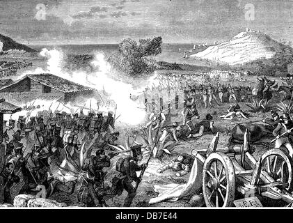 Peninsula War 1808 - 1814, Battle of Corunna, 16.1.1809, death of the British general Sir John Moore, wood engraving, - Stock Photo
