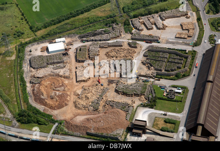 aerial view of biomass fuel in a compound ready to be burned to produce power at Drax Power Station in Yorkshire - Stock Photo