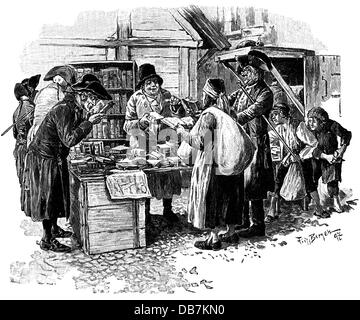 trade, trade fairs, antique dealer at the Leipzig Trade Fair, 1797, by Fritz Bergen (1857 - 1941), wood engraving, - Stock Photo