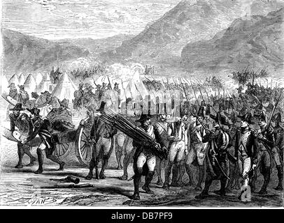 Peninsula War 1807 - 1814, French troops on foot of the Pyrenees, 1808, wood engraving, 19th century, France, Spain, - Stock Photo