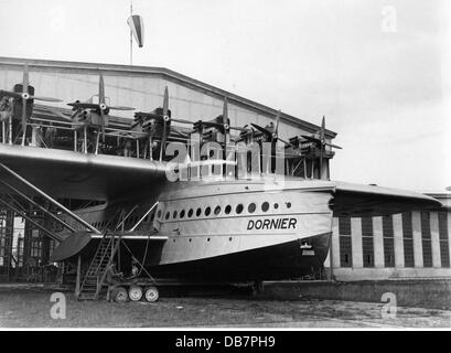 transport / transportation, aviation, seaplane, Dornier Do X, built 1929, in front of the hangar, early 1930s, Additional - Stock Photo