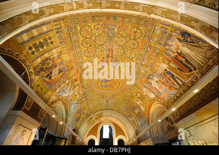 Entrance hall with a ceiling mosaic, Memorial Hall in the old tower of Kaiser Wilhelm Memorial Church - Stock Photo