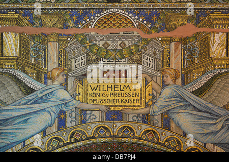 Dedication panel to Wilhelm I above the entrance portal, ceiling mosaic, Memorial Hall in the old tower of Kaiser - Stock Photo