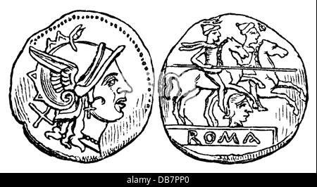 money / finances, coins, Roman Empire, the, silver, from the time of the republic, wood engraving, 19th century, - Stock Photo