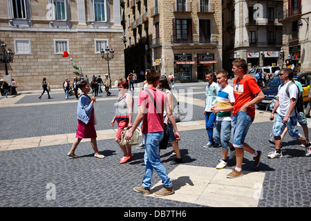 guided walking tour sant jaume square Barcelona Catalonia Spain - Stock Photo