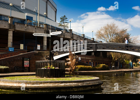UK, England, Birmingham, Brindley Place, signbpost at junction of Canals - Stock Photo