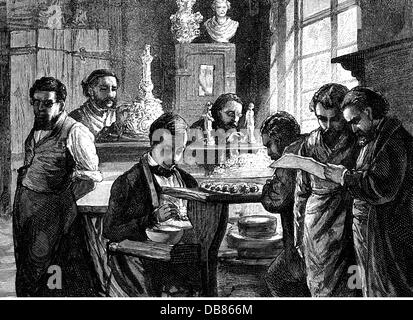 meissen porcelain factory 19th century stock photo. Black Bedroom Furniture Sets. Home Design Ideas