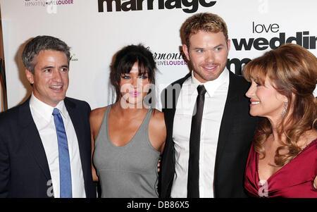 Dermot Mulroney, Jessica Szohr, Kellan Lutz, and Jane Seymour Los Angeles Premiere of 'Love, Wedding, Marriage' - Stock Photo