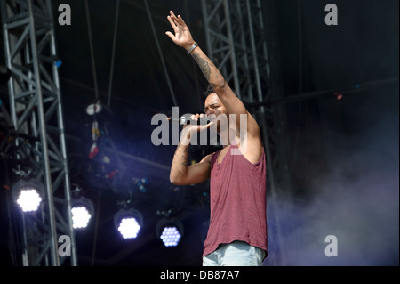Harley 'Sylvester' Alexander-Sule from British hip hop duo, Rizzle Kicks performs on stage during the Wireless Festival - Stock Photo