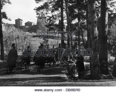 movie, shooting, background actors as Roman cavalry, shooting of the movie 'The Fall of the Roman Empire' by Anthony - Stock Photo