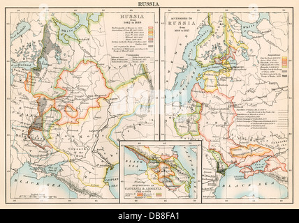 Russia 1462-1689 (left); lands added to Russian Empire 1689-1825 (right), plus Armenia and Caucasia (inset). Color - Stock Photo