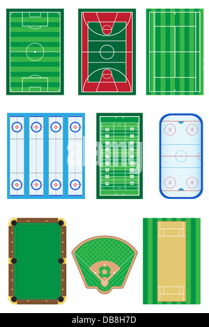 fields for sports games illustration isolated on white background - Stock Photo