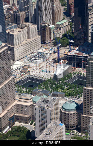World Trade Center and Ground Zero aerial photo on Manhattan Island in New York City - Stock Photo