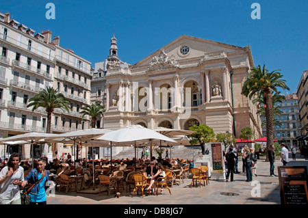 France Toulon Place Victor Hugo the Theatre Municipal Opera House Cafe Terrace French - Stock Photo