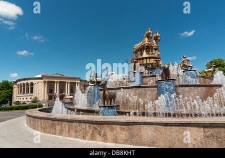 Fountain by David Gogichaishvili with Copies of Statues from Kolkhida Excavations,Davit Aghmashenebelis Square, - Stock Photo