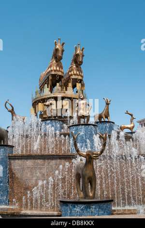 Fountain by David Gogichaishvili with Copies of Statues from Kolkhida Archaeological  Site, Central Square, Kutaisi, - Stock Photo