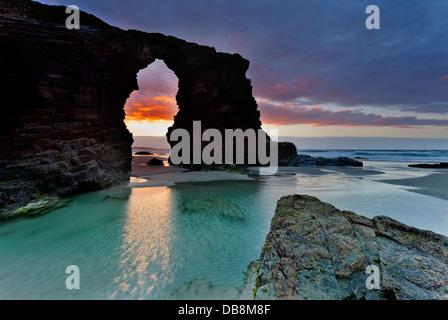 'The Cathedrals' beach.Lugo,Galicia,Spain - Stock Photo