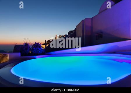 Santorini night view.Luxury resort. - Stock Photo