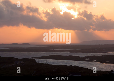 View over Connemara coast from Sky Road near Clifden at sunset County Galway Eire Republic of Ireland - Stock Photo