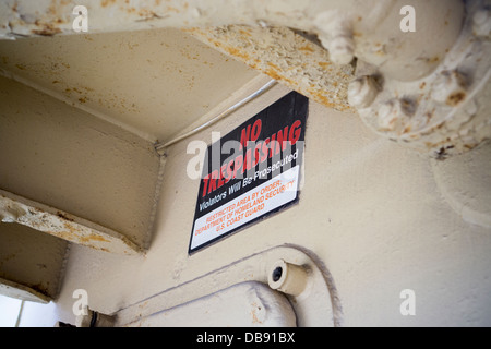 A No Trespassing by order of the Dept. of Homeland Security sign is seen on a merchant marine ship in New York - Stock Photo