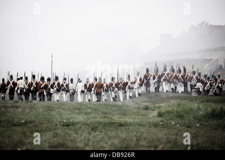 Canada,Ontario,Fort Erie,Old Fort Erie, War of 1812 re-enactment of the Siege of Fort Erie - Stock Photo