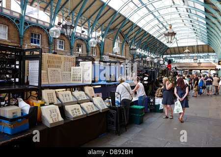 the apple market inside covent garden market London England UK - Stock Photo