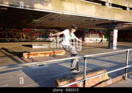 skateboarder at the undercroft skate park of the southbank centre London England UK - Stock Photo