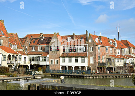 View on ''The Crescent'' or in Dutch called '' De Bocht'', in the historic town of Enkhuizen, North Holland, The - Stock Photo