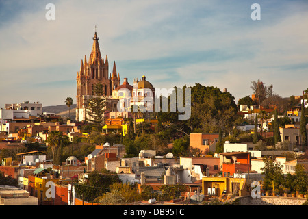 The CATHEDRAL OF SAN MIGUEL DE ALLENDE is called La PARROQUIA and is the center piece of the town - MEXICO - Stock Photo
