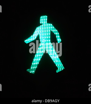Pedestrian road crossing green man - Stock Photo