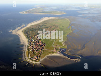 An aerial view of Baltrum shows the smallest East Frisian Island of national park Lower Saxony's Mud Flats near - Stock Photo