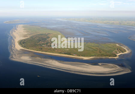 An aerial view of the East Frisian Island Spiekeroog is pictured at the national park Lower Saxony's Mud Flats near - Stock Photo