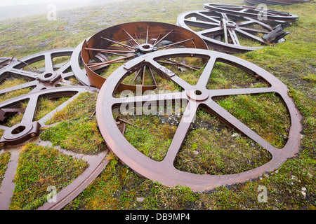 Artefacts at an abandoned coal mine in Longyearbyen on Spitsbergen, Svalbard. - Stock Photo