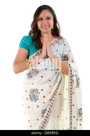 Indian woman greeting - Stock Photo