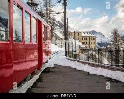 The Montenvers rack railway train, Chamonix, France. - Stock Photo