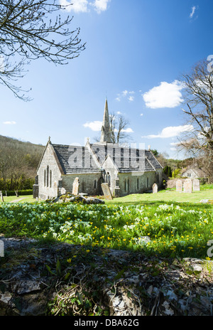 The church and churchyard of St Michael & All Angels in the tiny village of Littlebredy near Bridport in west Dorset, - Stock Photo