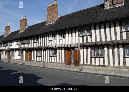 Historical Half timbered almshouses buildings on Church Street Stratford upon Avon - Stock Photo