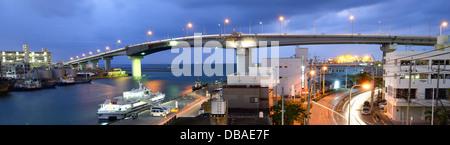 Tomari Bridge in Naha, Okinawa, Japan.