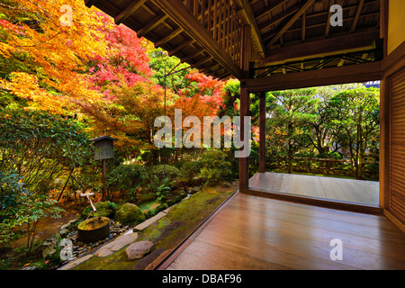Fall foliage at a Temple in Kyoto, Japan. - Stock Photo