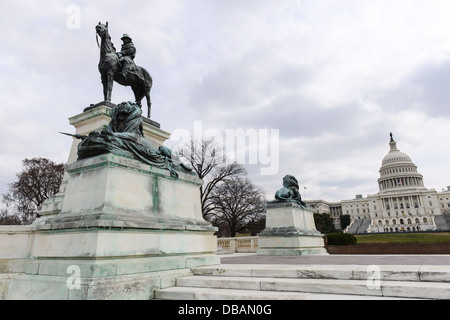 Grant Statue in front of Capitol Hill Building - Stock Photo