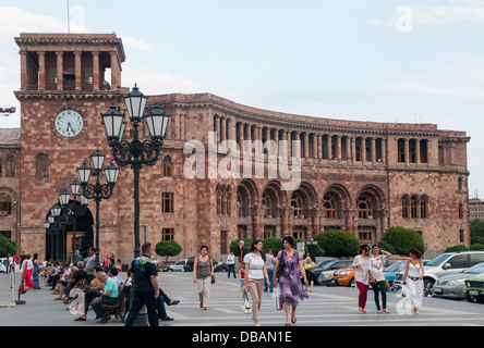 Summer evening in Republic Square, the former Lenin square, Hanrapetutyan Hraparak in Yerevan - Stock Photo