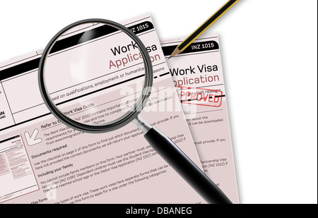 Close-up of work visa application document for temporary stay approved - Stock Photo